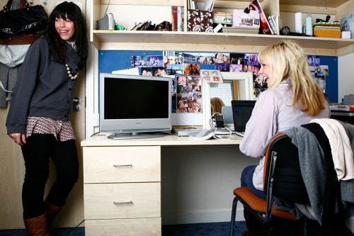 Photo of two students in a bedroom with a desk at Don Gratton House