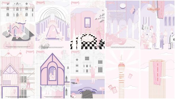 Illustrations of different views within House of Extravaganza