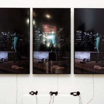 A triptych of displays featuring work by Davide Martella