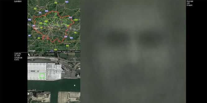 A maps next to a very blurred image of someones face