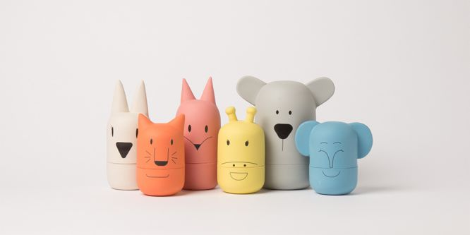 A collection of pastel coloured ceramic animals