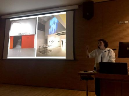 Catherine Ince speaking at the Spatial Practices Lecture Series, Spring 2016