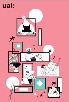 Black and white digital illustrations of the creative courses we offer at UAL on a pink background.