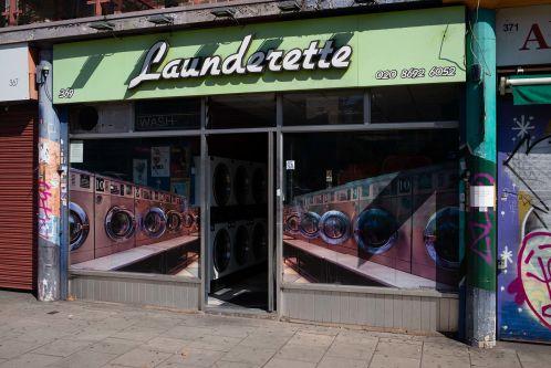 a shop front of a launderette