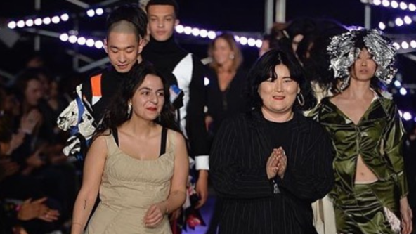 Sheryn Akiki and Goom Heo after winning the L'Oreal Professionnel Award for Creative Talent