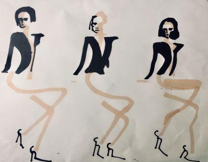 Fashion illustration, three figures wearing black jackets
