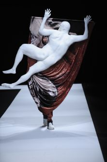 Male model wearing a human shaped costume designed by Christian Bronstein