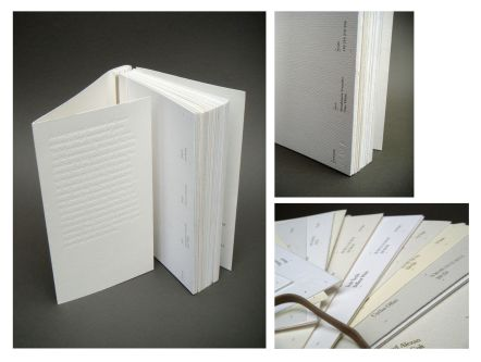 Book by Caroline Abel with minimal, white on white typographic cover.