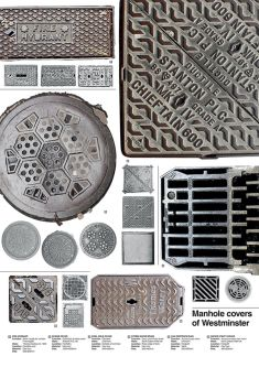 A poster illustrating different examples of manhole covers.
