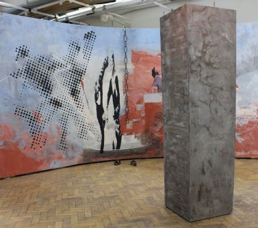 Installation with large painted panels featuring figures, metal chains and large concrete column by Ben Pollock - MA Fine Art Painting.