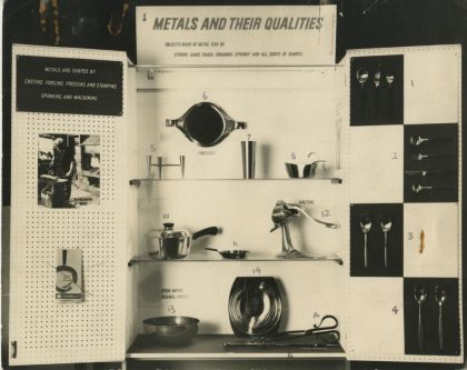 Photograph of a 'Metals and their Qualities' display (front). ILEA Collection IA_M3D_1. Photograph © Tessa Grimshaw.