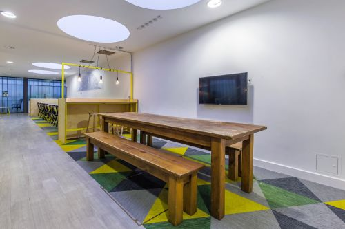 Photo of dining table with benches