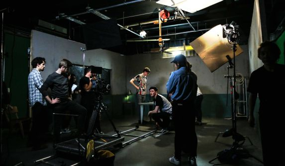 Students using a combination of equipment within London College of Communication's television studios.