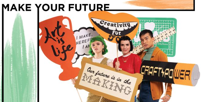 Three people holding placards against backdrop with Make Your Future written