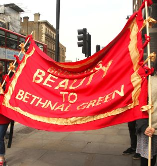 Beauty in Bethnal Green flag by Jessica Hadwin.
