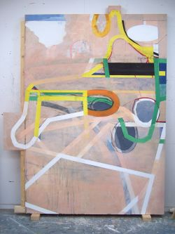 Large scale linear based work propped against gallery wall by Ashley West.
