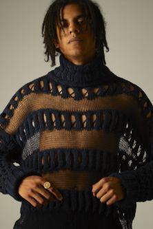 Male model in sheer knit jumper