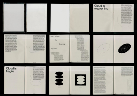 image of several editorial spreads with varying type sizes on a light paper with dark illustrations.