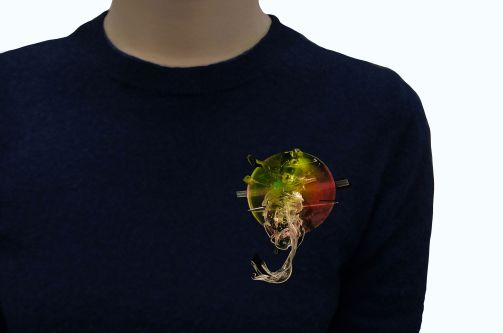 Perspex coloured brooch on torso