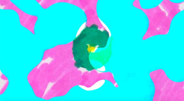A motion still in which blue and pink bubbles pop to reveal flickering, colourful doodles.
