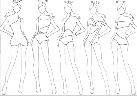 A series of sketches of various fashion designs.