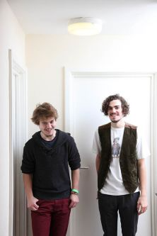 Photo of two male students standing in hallway at Cordwainers Court