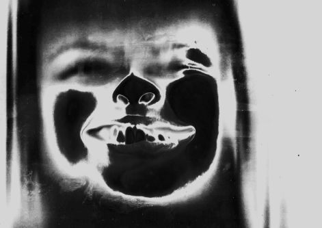 Black and white image of face