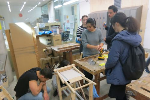 Students working on architectural structures
