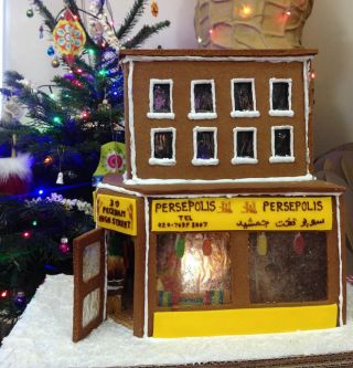 Gingerbread version of Middle Eastern cafe Persepolis in Peckham