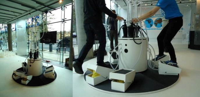 Two images of the Hydrochordion, an instrument using foot presses which created sound with water and air