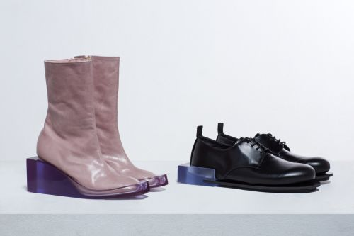 Mauve perspex heel boot and brogue