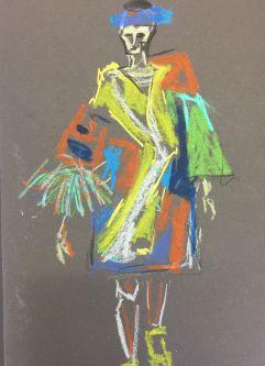 Fashion illustration, figure wearing colourful dress