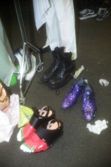 A pile of shoes backstage