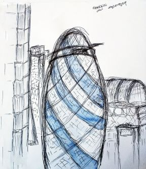 Illustration, study of London buildings and