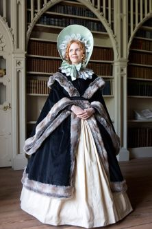Female historical costume worn by model
