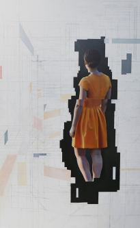 Painting of female figure in architectural space by James O'Connell.