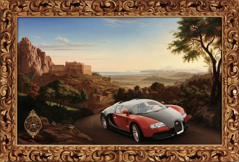 Photo realist car in landscape painted in a historical style with highly decorative painted frame by Duane Moyle.