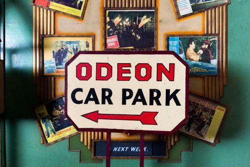 Odeon Car Park vintage sign in situ in The Cinema Museum