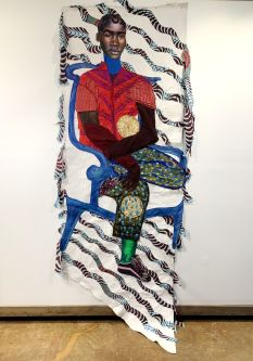 Artwork by Liana Ambrose-Murray of a figure painted on fabric