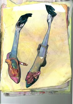 Collage of feet with pink shoes