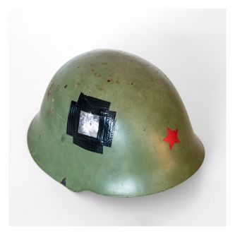 Photograph of a soldier's helmet.