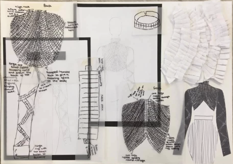 Inside a student's sketchbook exploring new designs for white shirts.