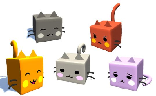 Five animations of cats, made of colourful cubes with triangular eyes and line-drawn whiskers and faces.
