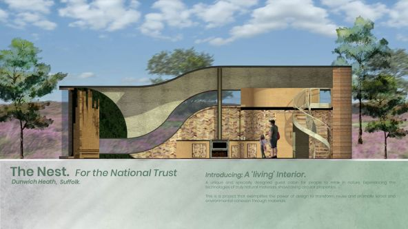 An architectural drawing of 'The Nest', Jessica's building concept for the National Trust.