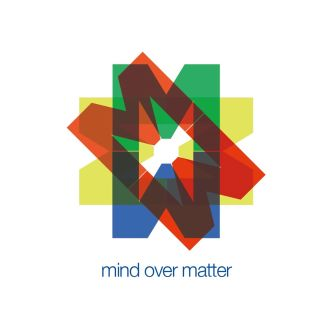 A graphic created for 'Mind Over Matter', a mental health initiative, featuring red, blue and yellow shapes superimposed on each other.
