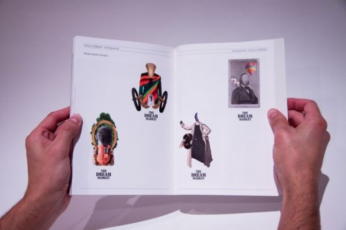Double-page view of a book. Inside are four graphic collage/illustrations of characters from The Dream Market