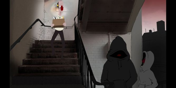 A red-nosed man walks down a staircase where some hooded figures stand at the foot of.