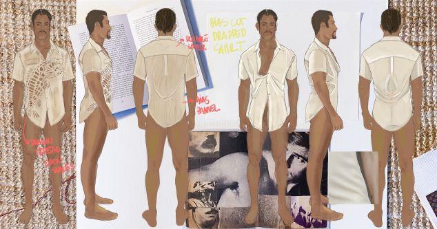 illustrations of menswear shirts