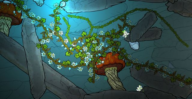 Design for a computer game. Upward view in a subterranean environment with green foliage and mushroom-like structures.