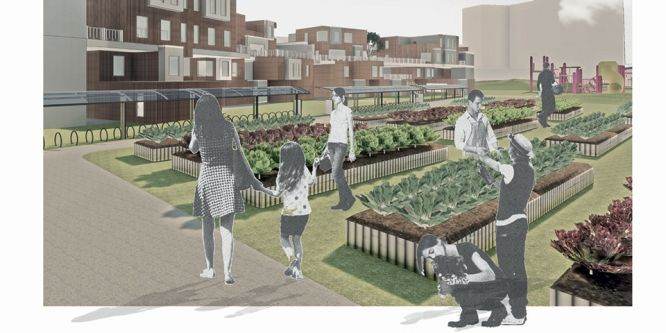 An architectural illustration showing a group of people using an urban allotment